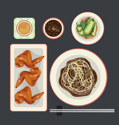 black noodle vector image