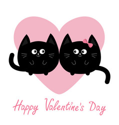 black round cat couple family icon pink heart vector image