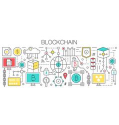 Blockchain concept template flat line vector