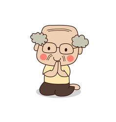 Buddhist elderly man sitting and paying respect vector