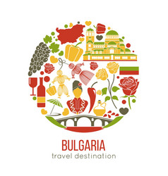 bulgaria traditional symbols in circle isolated on vector image