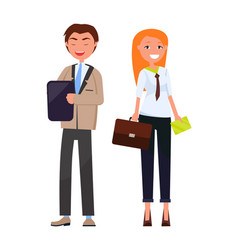 business partners stylish man woman in formal wear vector image
