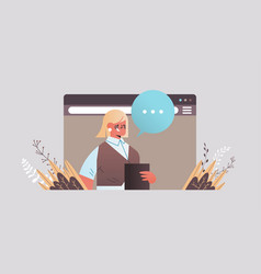 businesswoman chatting during video call woman vector image