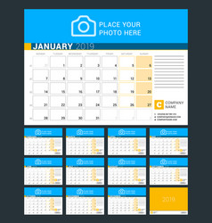 calendar for 2019 year design print template with vector image
