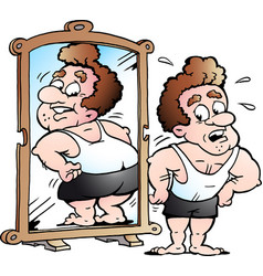 cartoon of a fit man as he thinks he looks fat vector image