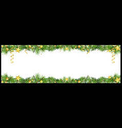 christmas banner with green coniferous twigs vector image