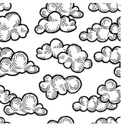 Cloud pattern doodle line art cloudy sky vector