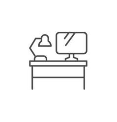 Computer desk line outline icon vector