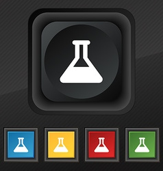 Conical Flask icon symbol Set of five colorful vector image