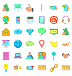 Contact info icons set cartoon style vector