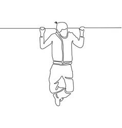 continuous line man hanging on horizontal bar vector image