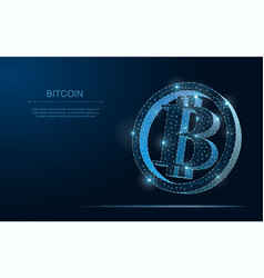 crypto currency bitcoin blockchain polygonal 3d vector image