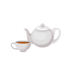 cup of tea and teapot traditional english drink vector image