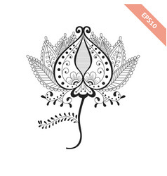 decorative hand drawn flower doodle style vector image