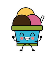 delicious ice cream cute kawaii cartoon vector image