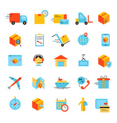 delivery app modern flat icons set vector image