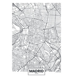 Detailed poster city map madrid vector