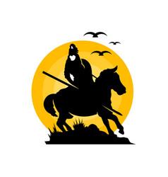 equestrian archer warrior logo vector image