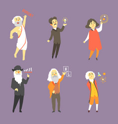 Famous scientists of the history set vector