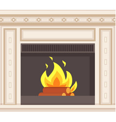 fireplace closeup burning logs inside of stove vector image