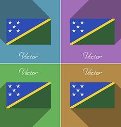 Flags Solomon Islands Set of colors flat design vector image
