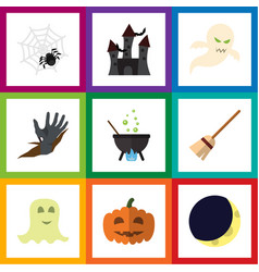 Flat icon festival set of zombie crescent magic vector
