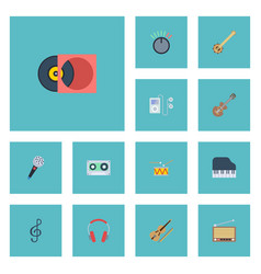 flat icons acoustic octave keyboard retro disc vector image