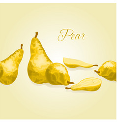 Fruity border seamless background with pear vector