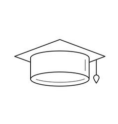 graduation cap line icon vector image