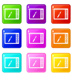 graphics tablet icons 9 set vector image