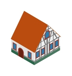 Half timbered house in germany isometric 3d icon vector