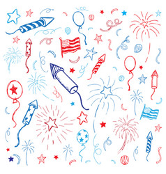 hand drawn american fourth july design vector image