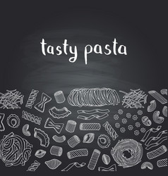 Hand drawn contoured pasta types on vector