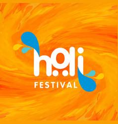 happy holi festival beautiful orange watercolor vector image