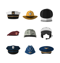 hats and helmets icon cap in flat style vector image