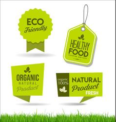 healthy natural food labels organic tags 3 vector image