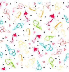 ice cream seamless pattern cartoon vector image