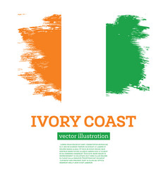 ivory coast flag with brush strokes independence vector image