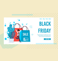 Landing page inviting on black friday online sale vector