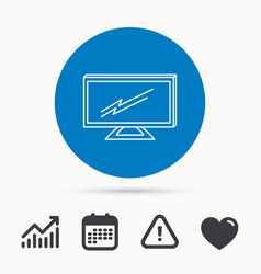 lcd tv icon led monitor sign vector image