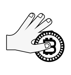 Line bitcoin coin corrency in the hand vector