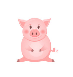 little pink pig character the year of the pig vector image