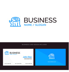 Log wood wooden spring blue business logo and vector