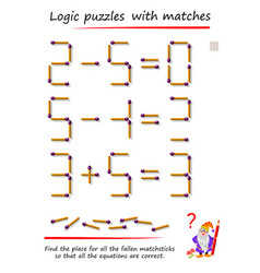 Logic puzzle game with matches find place for all vector