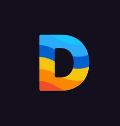 logo letter d colorful blue red orange vector image