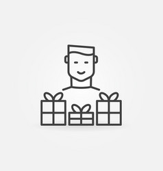 man with gift icon or symbol in thin line vector image