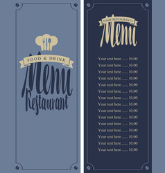 menu for the restaurant with price list and toque vector image vector image