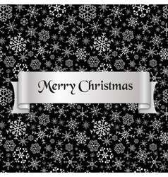 merry christmas with silver winter snowflakes vector image
