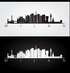 Milan skyline and landmarks silhouette vector