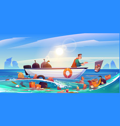 ocean polluted water cleanup eco pollution problem vector image